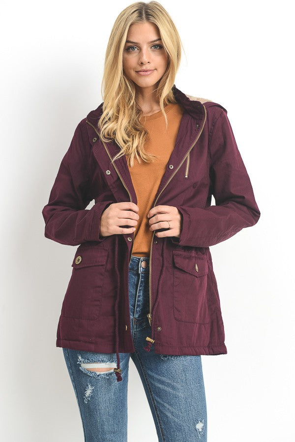 Padded Parka With Faux Fur Trim - The Lovely Fashion
