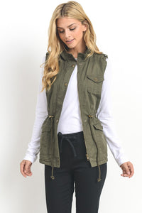 Faux Fur Trim Vest - The Lovely Fashion