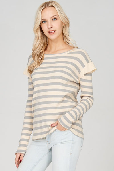 Stripe Knitted Top - The Lovely Fashion