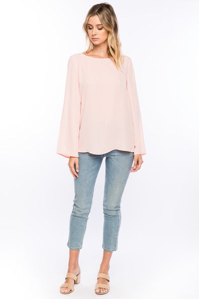 Blush Long Sleeve With Back Bow - The Lovely Fashion