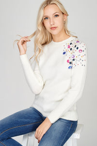 Shoulder Embellished Sweater - The Lovely Fashion