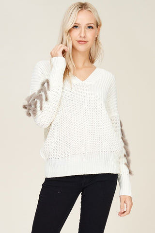 Sleeves Embellished Sweater - The Lovely Fashion