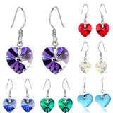 18K White Gold Heart Swarovski Crystal Drop Earrings