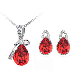 Crystal Tear Drop Necklace/Earrings Jewelry Sets