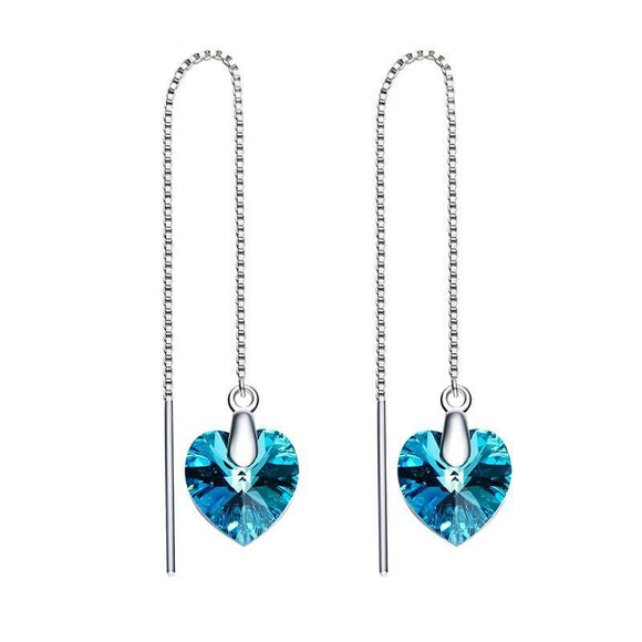 Crystals from Swarovski Heart Shaped Drop Earrings
