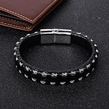 Black/Silver/Gold Leather Bracelet w/ Magnetic Clasp