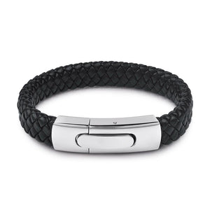 Black Braided Leather Bracelet w/ Magnetic Clasp