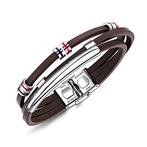 Brown Multi-Layer Leather Bracelet w/ Magnetic Clasp