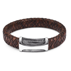 Multicolor Braided Leather Bracelet w/ Magnetic Clasp