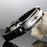 Black Braided Leather Stainless Steel Cross Bracelet