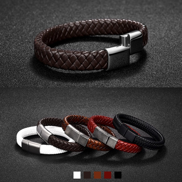Black/Brown Braided Leather Bracelet w/ Magnetic Clasp