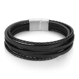 Black/Brown Multi-Layer Braided Leather Bracelet w/ Magnetic Clasp
