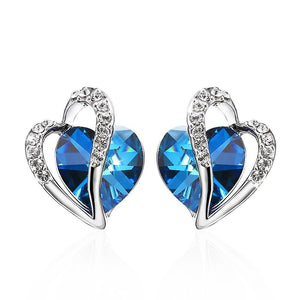 Crystals From Swarovski Heart Earrings
