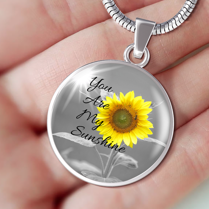 """You Are My Sunshine"" Personalized Round Luxury Silver Necklace"