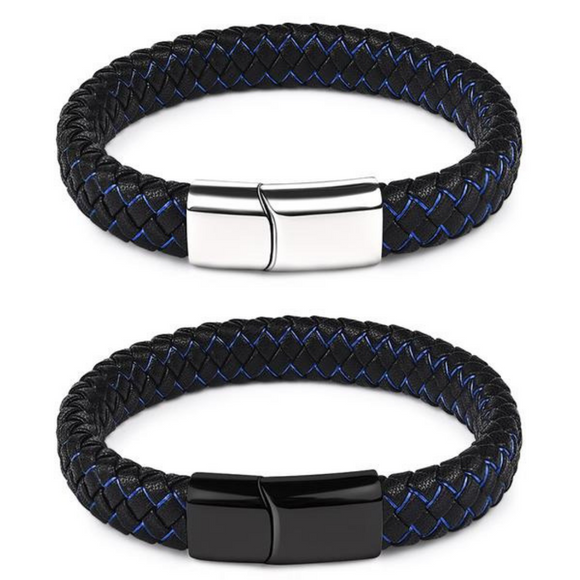 Black/Blue Braided Leather Bracelet w/ Magnetic Clasp