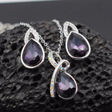 Crystal Teardrop Necklace/Earrings Jewelry Set