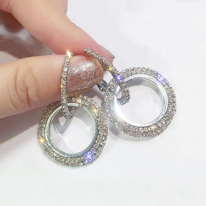 Crystals From Swarovski Circle Drop Earrings