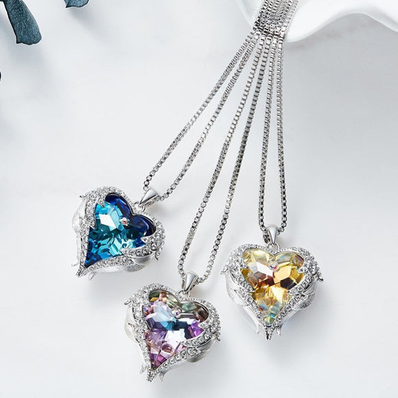 Crystals from Swarovski Heart Of Angel Necklace