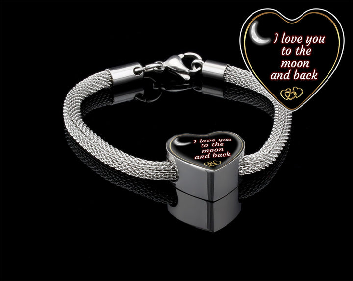 """I Love You To The Moon And Back"" Personalized Heart Luxury Silver Bracelet"