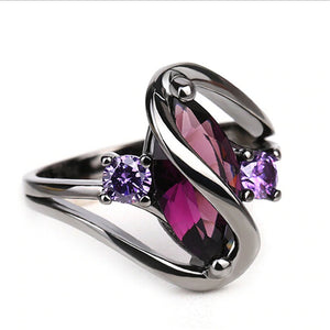 Purple Zircon Crystal Gun Metal Ring