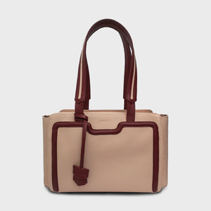 Canvas Tote / Nude & Burgundy