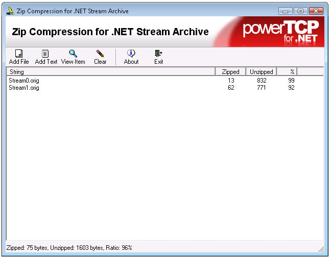 PowerTCP Zip Compression for  NET