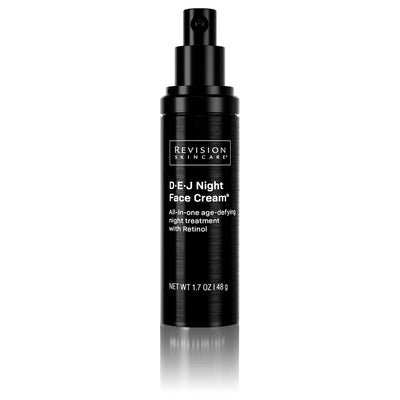 DEJ Night face cream- all-in-one age-defying night treatment with Retinol. Pump Front