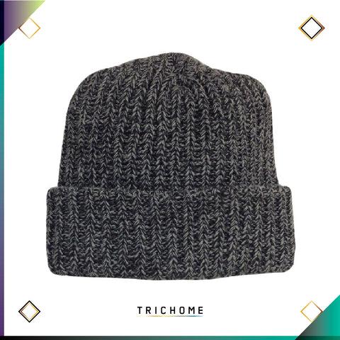 Pacific Northwest Heavy Knit Marled Beanie / Black & Smoke