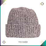 Pacific Northwest Heavy Knit Marled Beanie / Ghost Pink & Black