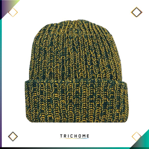 Pacific Northwest Heavy Knit Marled Beanie / Pine & Wax