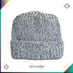 Pacific Northwest Heavy Knit Marled Beanie / White & Evening Teal