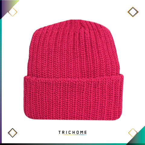 Pacific Northwest Heavy Knit Beanie / Laser Pink