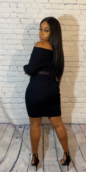 Belted Off Shoulder Bodycon Midi Dress