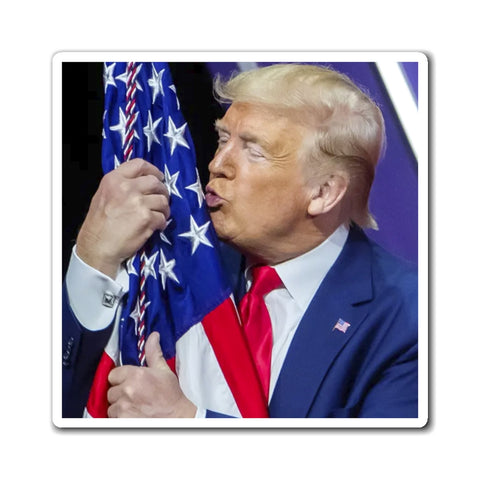 Trump Kissing Flag Magnet