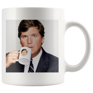 Tucker Carlson Drinking Out of a Tucker Carlson Mug Mug