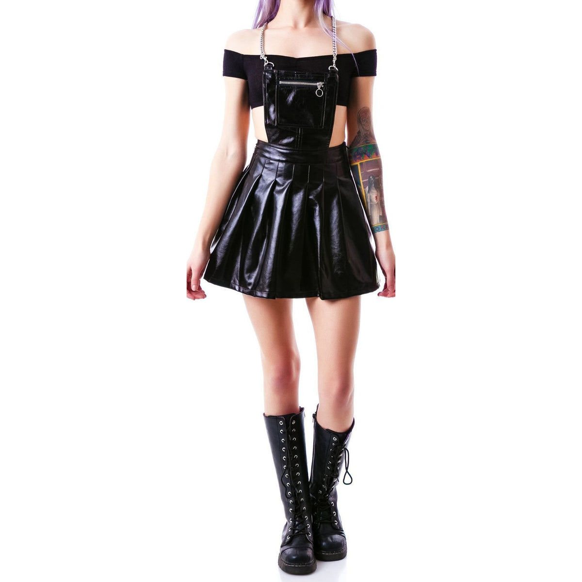 24HRS Life On Mars Space Cadet Apron Dress - Black