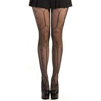 LIP SERVICE WOVEN TIGHTS WITH FLOWERS