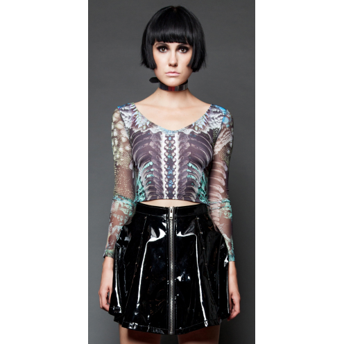 Lip Service Grin and Bear It Crop Top with Mesh one Sleeves