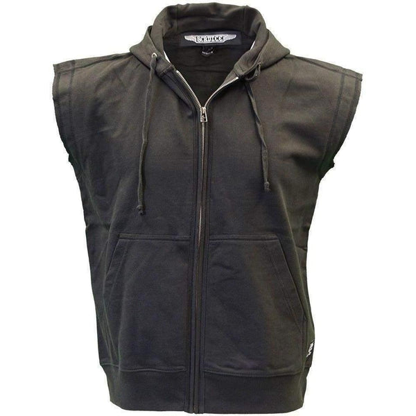 LIP SERVICE SLEEVELESS MENS PLAIN ZIP HOODIE