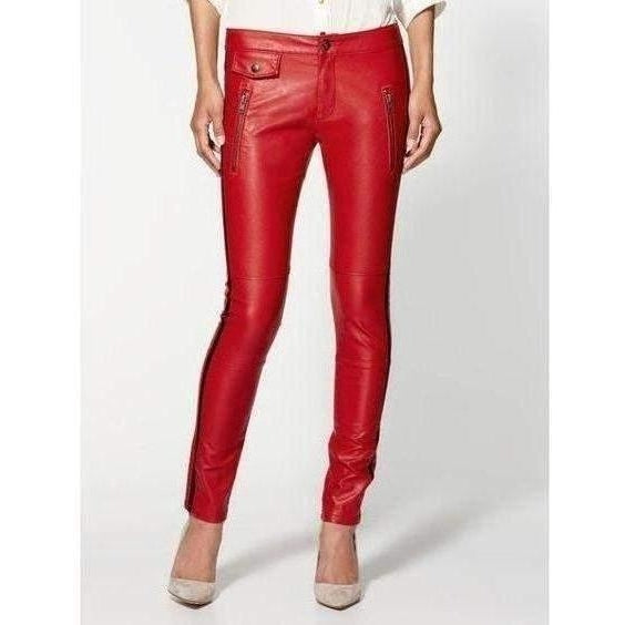 BlankNYC Moto Skinny Vegan Leather Jeans - Red - Salemonster