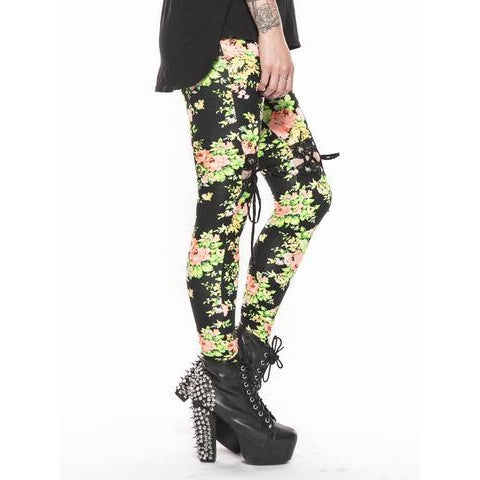 24 Hrs Floral Lace Up Leggings Black