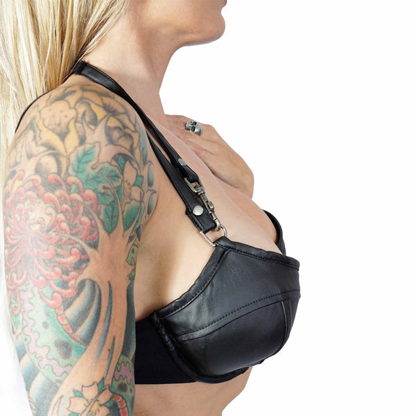 Lip Service 3 way Vinyl Bra with Mesh Panels in Matt Black Vegi Leather