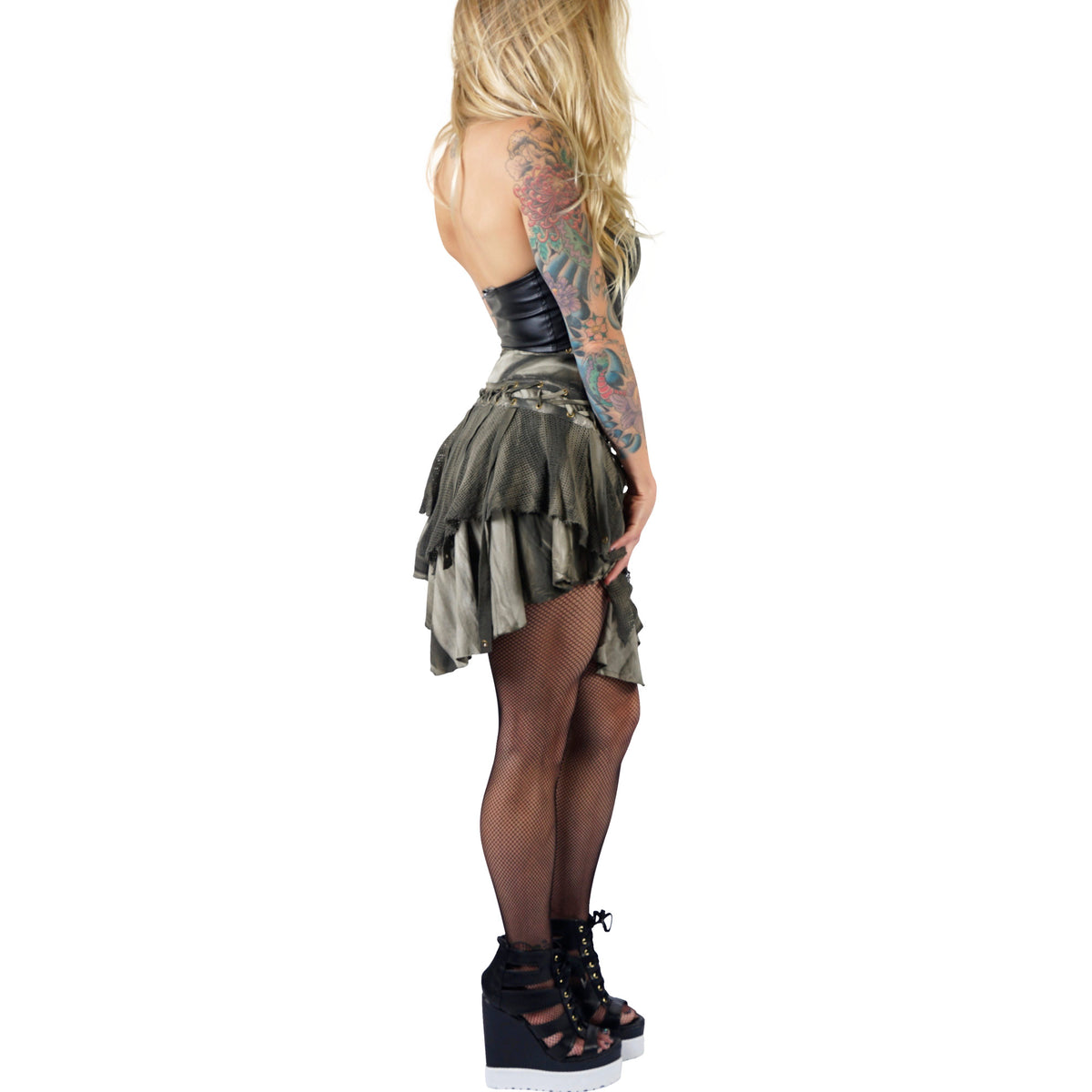 Lip Service Green Mesh Burning Man Skirt