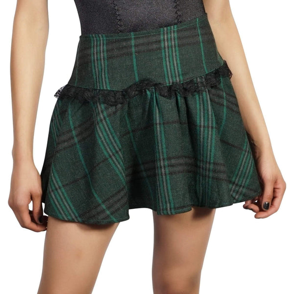 LIP SERVICE WOOL PLAID MINISKIRT WITH LACE TRIM - Salemonster