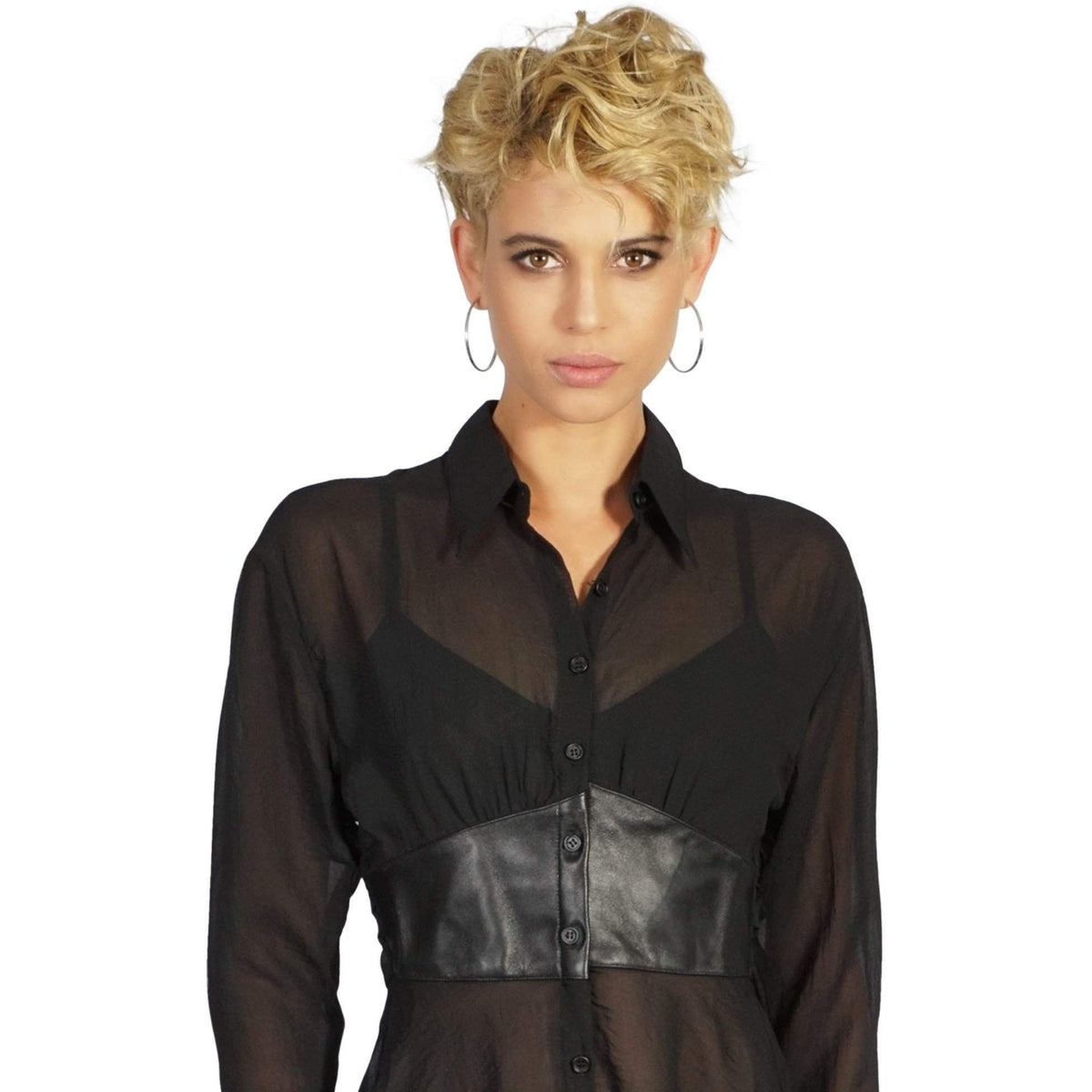 Widow Black Ice Chiffon & Leather Button Front Top-Salemonster