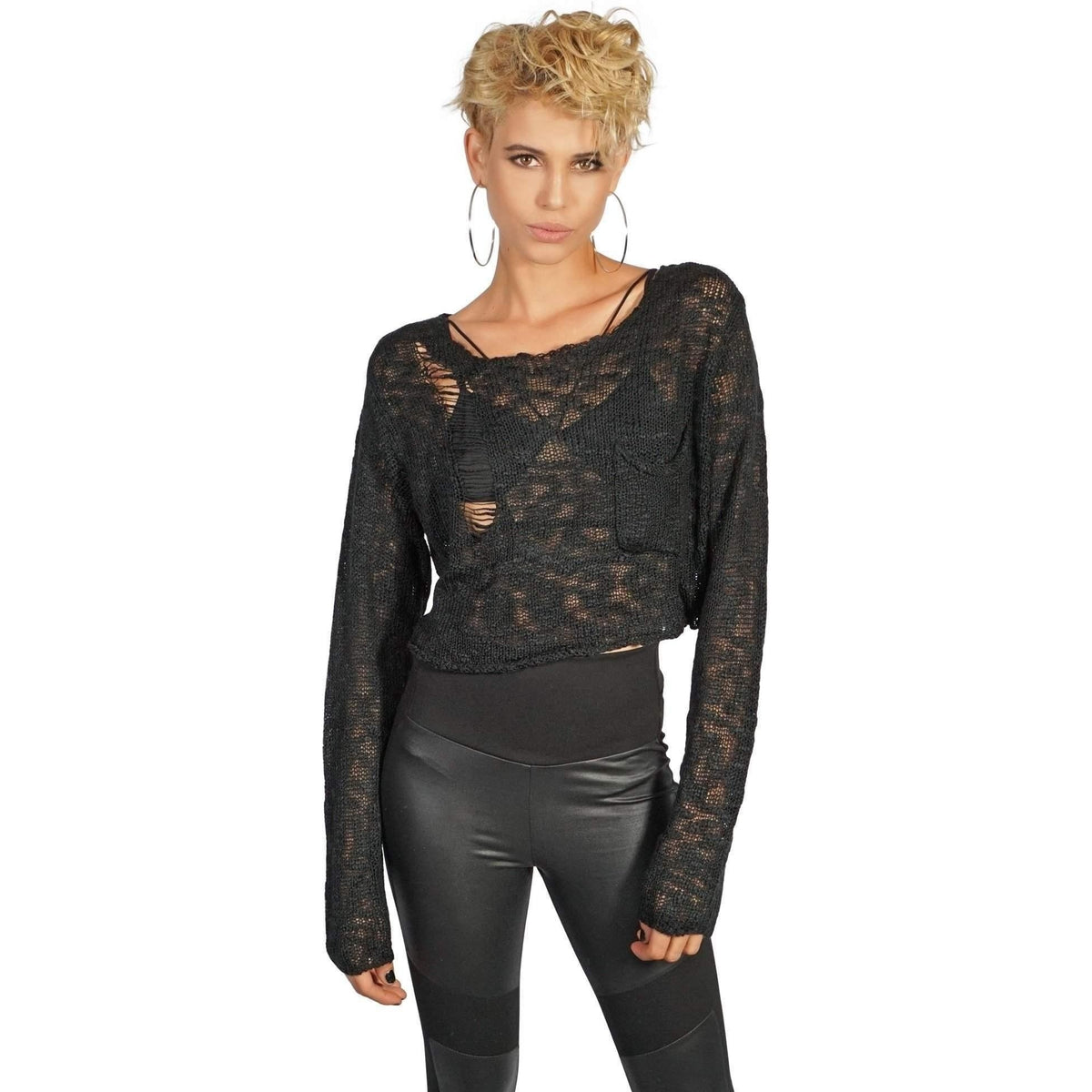 KILL CITY LADIES SLOUCH BLACK CROPPED SWEATER - Salemonster