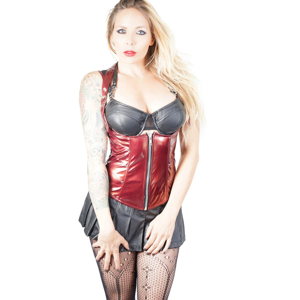 Lip Service Vinyl Corset Top- Red