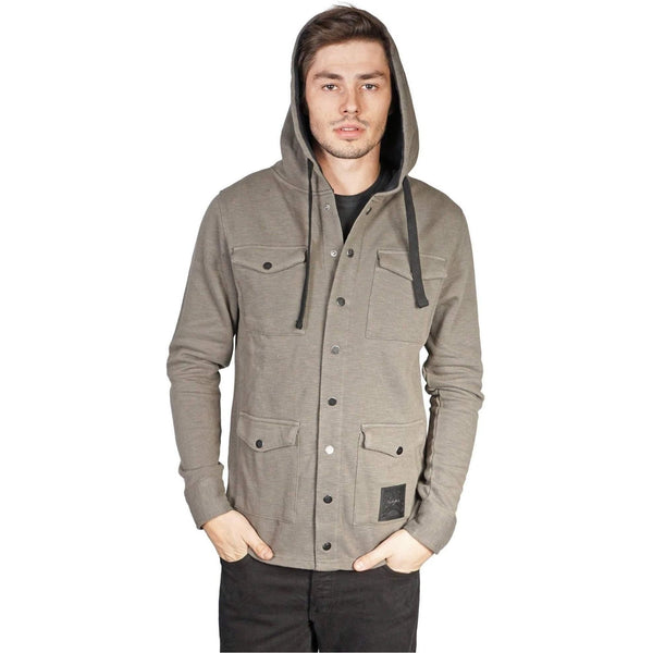 Men'S Olive Button Zip Hoodie-Salemonster