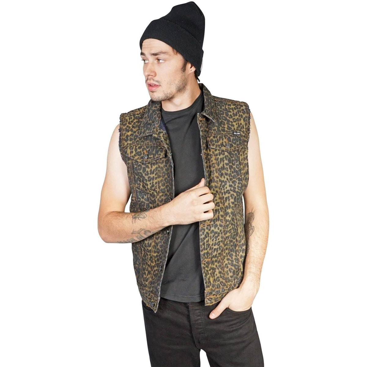 Kill City Mens Leopard Denim Vest-Salemonster