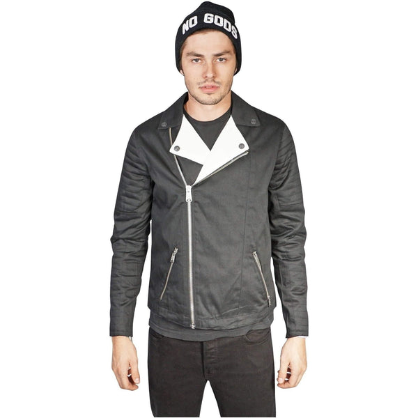 Kill City Men Black And White Moto Jacket-Salemonster
